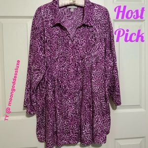 Woman Within Pintucked Plus Size 3/4 Sleeve Blouse